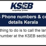 KSEB Phone numbers & contact details Kerala